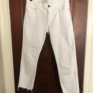 Current/Elliott white cropped jeans